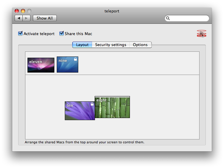 Teleport scherm MacOSX