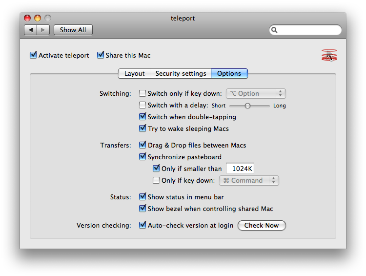 Teleport opties MacOSX